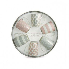 Tipperary Crystal Set of 6 Grey & Pink Mugs, Spots Stripes Kitchenware