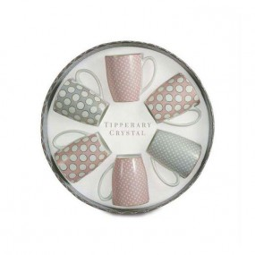 Tipperary Crystal Set Of 6 Pink & Grey Mugs, Spots