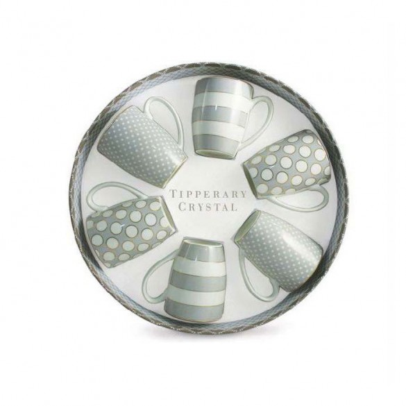 Tipperary Crystal Set Of 6 Grey Mugs, Spots & Stripes Kitchenware