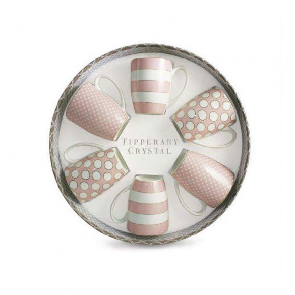 Tipperary Crystal Set of 6 Pink Mugs, Spots & Stripes Kitchenware