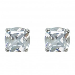 Silver Square Earrng With Round Stone Giftware