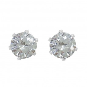 Stud Earrings Clear Stne 6mm Jewellery / Watches
