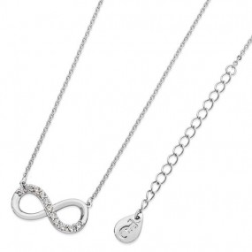 Tipperary Crystal Part Stone Silver Infinity Pendant