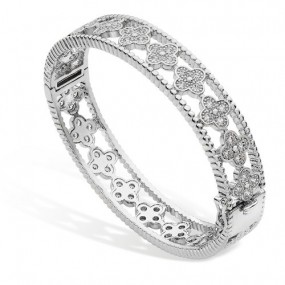 TIPPERARY CRYSTAL MULTIPLE FLOWER BANGLE- SILVER Jewellery / Watches