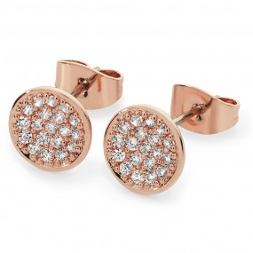 Pave Full Moon Earrings Rose Gold Giftware