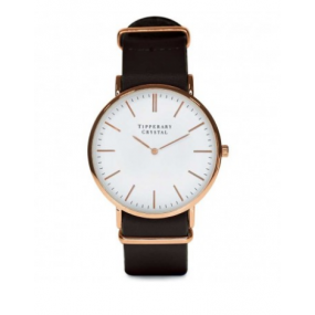 Tipperary Crystal Classic Mens Watch Black Strap, Gold Face
