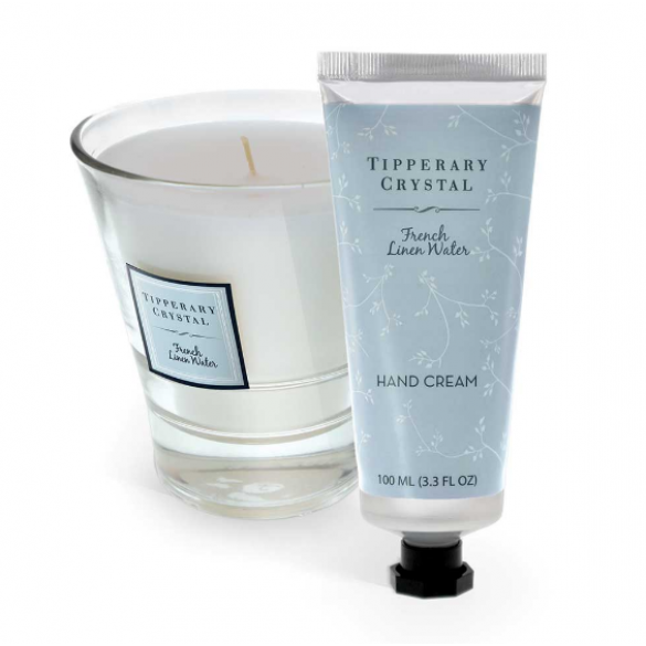 Tipperary Crystal, French Linen Candle and 100ml Hand Cream Set