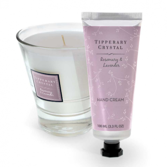 Tipperary Crystal, Rosemary & Lavender Candle and 100ml Hand Cream Set