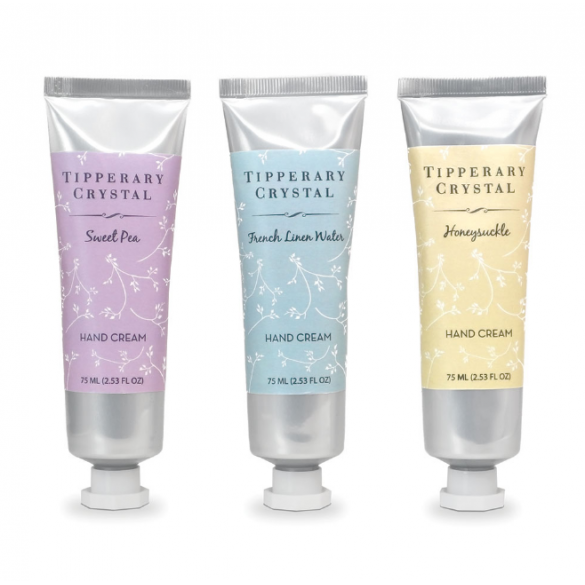 Tipperary Crystal Hand Cream Trio: Honeysuckle, Sweet Pea & French Linen