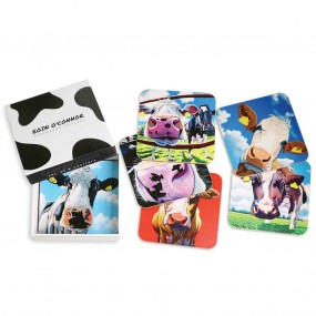 Tipperary Crystal Eoin O'Connor Cows Set of 6 Coasters