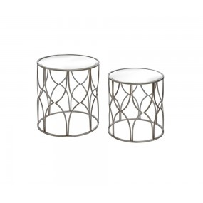 Set of 2 Silver Round Tables with Mirrored Top
