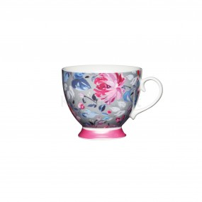 KitchenCraft Footed Mug, Pink & Grey Floral 400ml