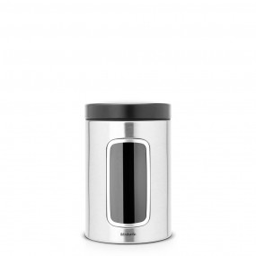 Brabantia Window Canister, 1.4L, Matt Steel Fingerprint Proof Kitchen Accessories