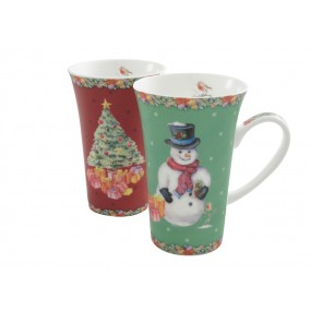 Belleek Aynsley Classic Christmas Latte Mugs Pair