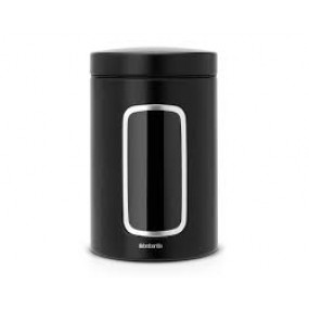 Brabantia Window Canister, 1.4L, Matt Black Fingerproof Kitchen Accessories