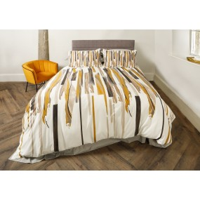 Scatter Box Brushstrokes Double Duvet Set, 200x200cm, Ochre