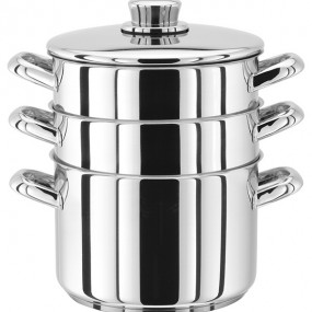 Stellar 3 Tier Stainless Steel Steamer Set - 18cm