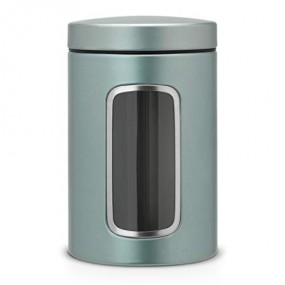 Brabantia Window Canister, 1.4L, Metallic Mint Kitchen Accessories