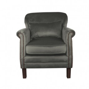 Camden Armchair, Gunmental Grey Velvet and Leather
