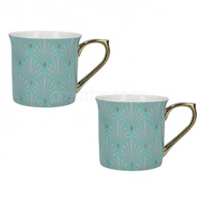 Creative Tops VA Scallop Shells Set of 2 Palace Mugs Turquoise