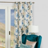 Scatterbox Ava Floral Lined Eyelet Curtains, Azure (105 x 90 Inch)