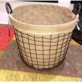 De Vielle Metal Lined Round Log Basket