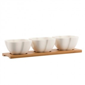 Belleek Three Bowls & Tray Set