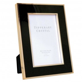 "Tipperary Crystal Black Enamel Frame Gold Edging 5""x7"""
