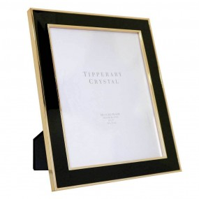 "Tipperary Crystal Black Enamel Frame Gold Edging 8"" X 10"""