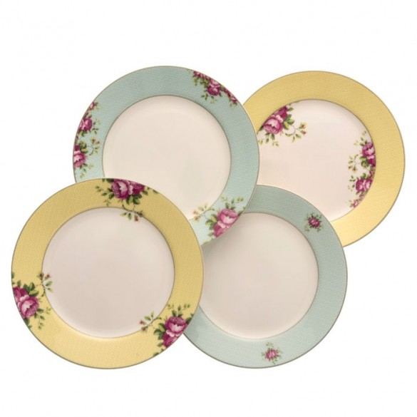 Belleek Aynsley Archive Rose Side Plates (Set of 4) Kitchenware