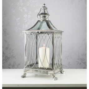Antique Silver Waves Lantern 52cm