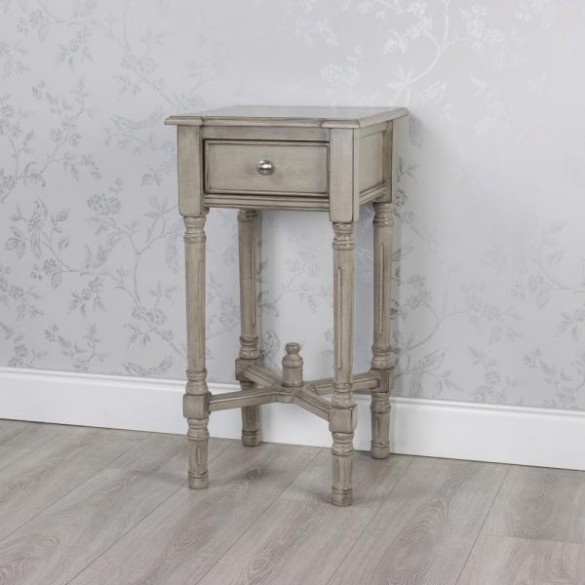 Wooden Oyster Grey 1 Drawer Accent Table