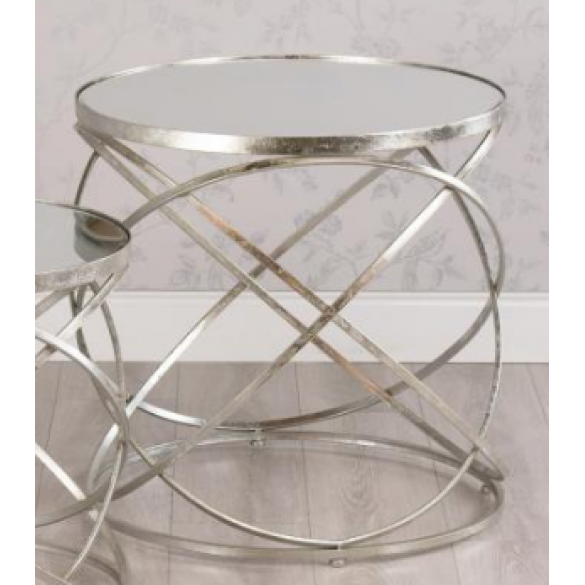 Spirals Mirrored Side Table Silver, Silver Mirror Side Table