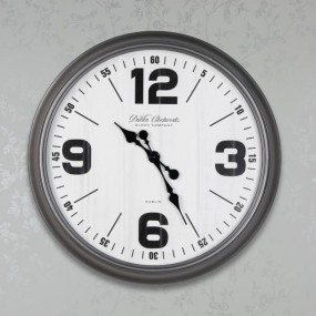 Retro Oversize Wall Clock 76cm Antique Silver