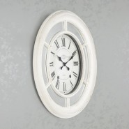 Bella Mirrored Clock 65cm Antique White