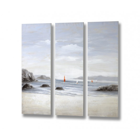 Set of 3 Beachfront Canvas 120x40x3.8cm