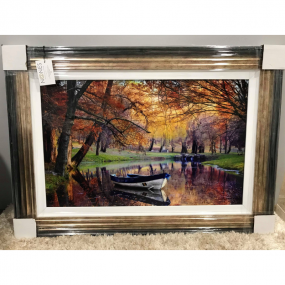 Boat on a River Print Frame - 105 x 75cm