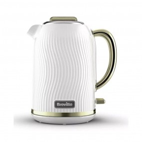BREVILLE FLOW KETTLE WHITE AND GOLD