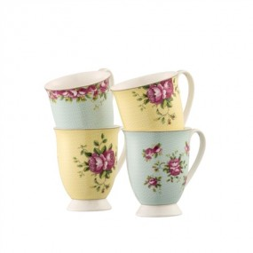 Belleek Archive Rose 4 Piece Mug Set Kitchenware
