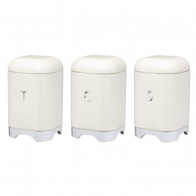 Set of 3 Lovello Tea, Coffee & Sugar Canisters Set - Cream