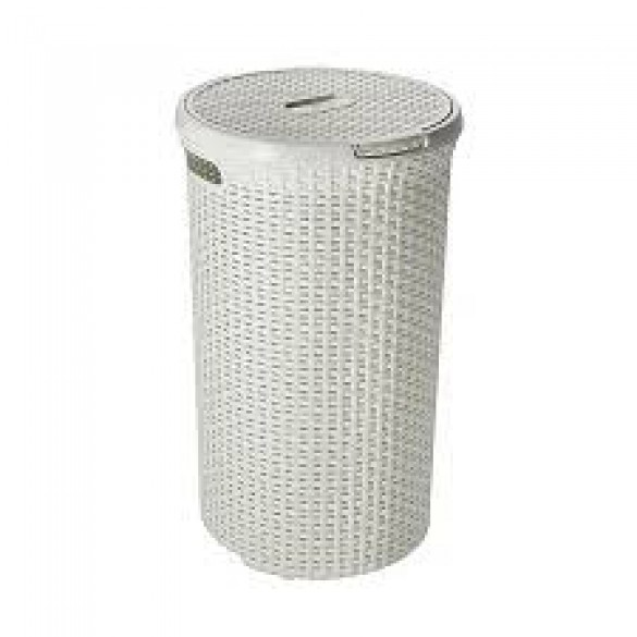 Laundry Hamper 48l White, Rattn Rnd