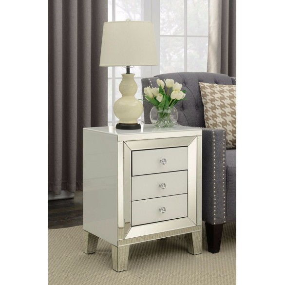 Malibu Mirrored 3 Drawer SideTable