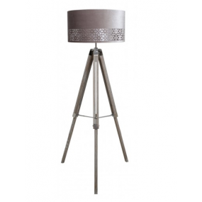 Grey Wood Tripod Floor Lamp with Grey Shade
