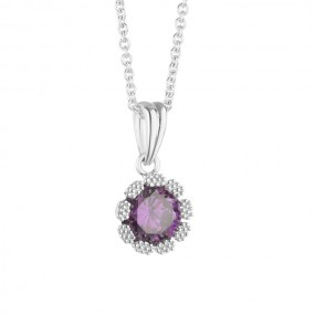 Flower Pendant Purple Clear Stones Jewellery / Watches