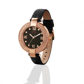 Guinness Rose Gold Plated Black Strap Ladies Watch Giftware