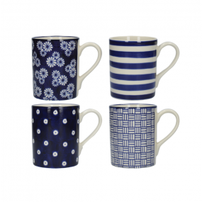 London Pottery Set of 4 Mugs Straight Blue - Out of The Blue Mugs & Cups