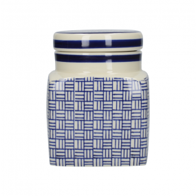 London Pottery Out of The Blue Ceramic Canister, Lattice Kitchen Storage