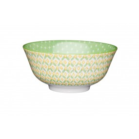 KitchenCraft Green Geometric Ceramic Bowl