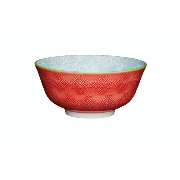 KitchenCraft Leaf Print and Terracotta Look Bowl 15.7cm