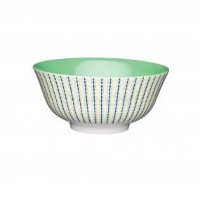 KitchenCraft Moroccan Style Blue & Lime Coloured Ceramic Bowl